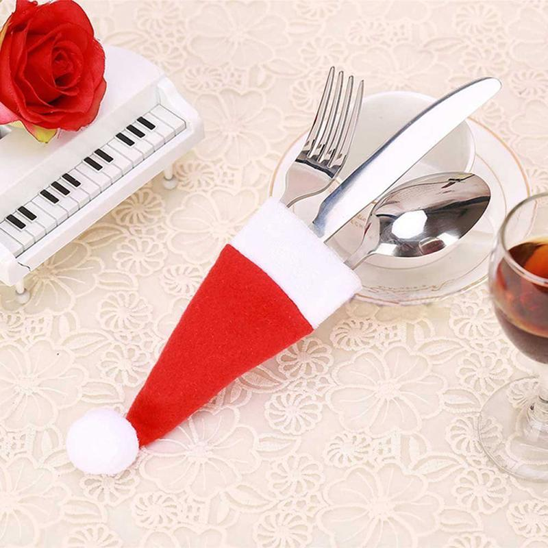 8pcs/pack Red Christmas Hat Cap Tableware Covers Fork Spoon Pocket Bag XMAS Holiday Party Decor Christmas Accessories