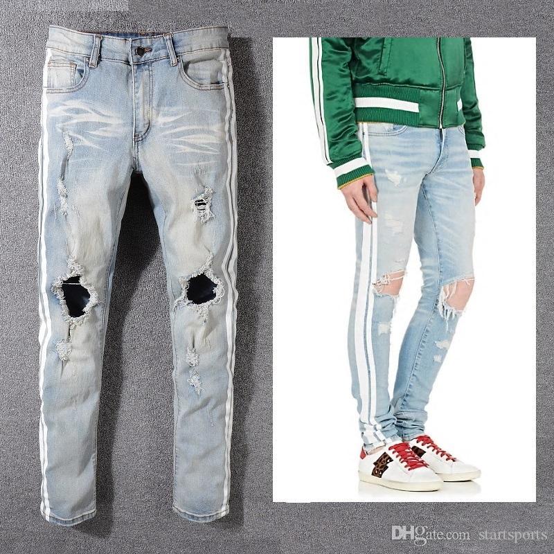 ad79616aa1 Compre Nuevo Estilo De Italia   5321   Hombres Desgastados Ahuecan Los  Pantalones Mezclan Los Lados Blancos Rayas Vaqueros Pitillo Azules  Pantalones ...