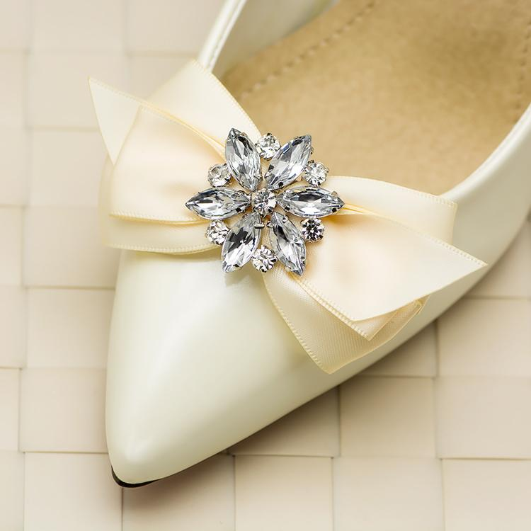 c37f6cded5 Hand Made 1 Piar Bowtie Rhinestone Crystal Ribbon Bow Wedding Bridal Shoe  Clips Decorations Free Shipping