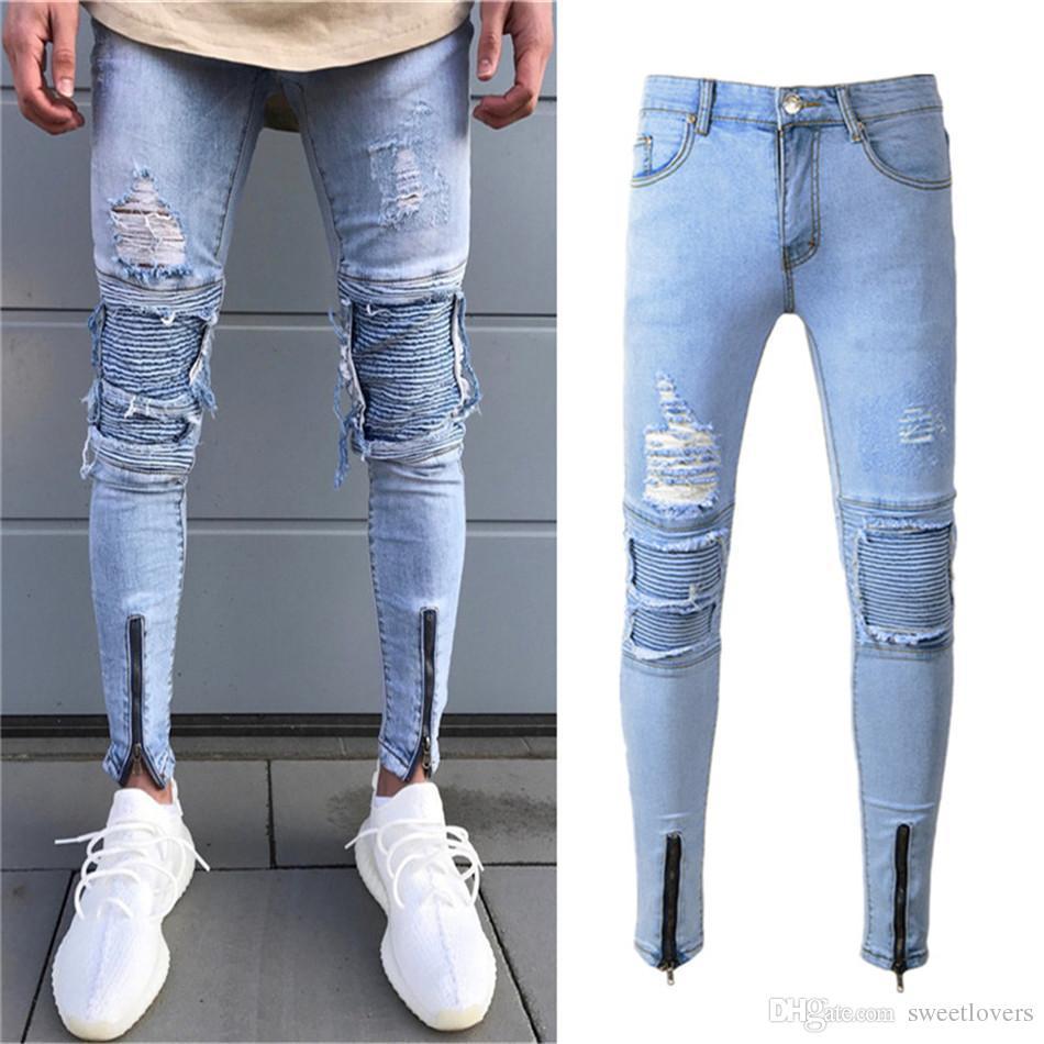 8fbc7bfa8d Compre Diseñador De La Marca Slim Fit Jeans Rasgados Hombres Hi Street Para Hombre  Jeans De Mezclilla Apenado Agujeros De La Rodilla Jeans Destruidos ...