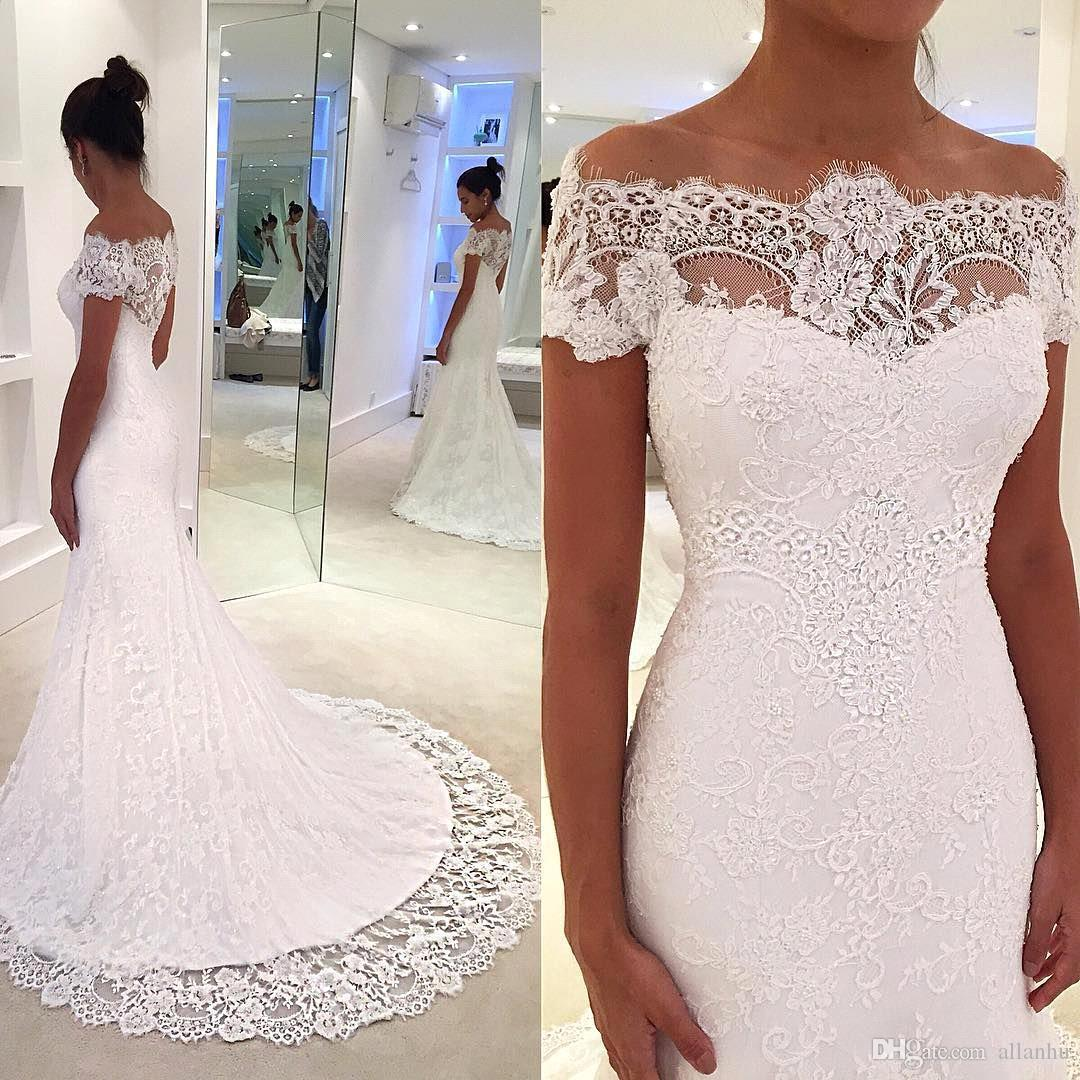 2019 Elegant Full Lace Mermaid Wedding Dresses Sheer Off Shoulder Bridal Gowns With Court Train Plus Size Robe de mariee BC1986