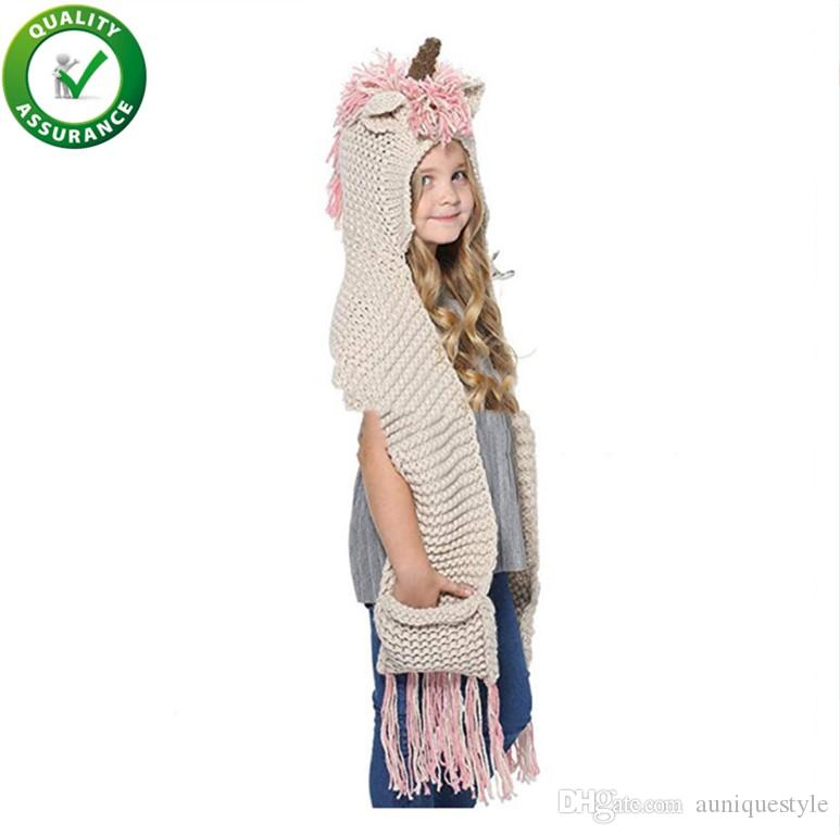 d5de6a7f2fd 2019 Designer Hats Luxury Crochet Cartoon Unicorn Winter Hat With Scarf  Pocket Hooded Knitting Beanie Cosplay Photography Cap Fashion For Girls  From ...