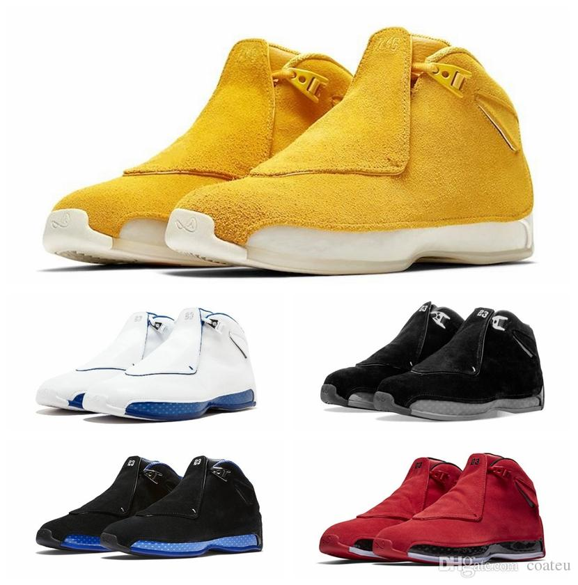 148128a736bc Newest Blue Yellow Orange Suede 18s Basketball Shoes Defining Momen ...