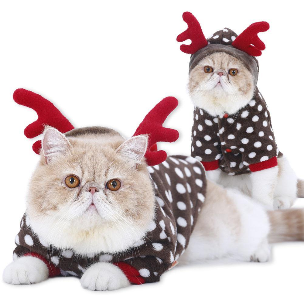 Kitten Christmas.Cat Winter Clothes Elk Reindeer Costume Thermal Warm Kitten Christmas New Year Clothes