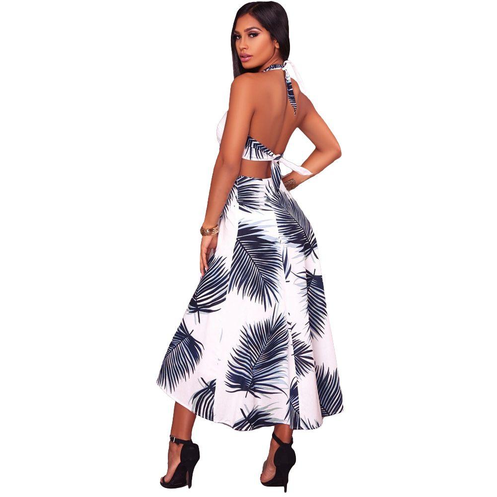 a3c830147c7f Women Summer Dress 2019 Contrast Leaves Print Halter Neck Sleeveless Beach  Dress Open Back High Waist Maxi Casual Holiday Dress Black Womens Clothes  Black ...