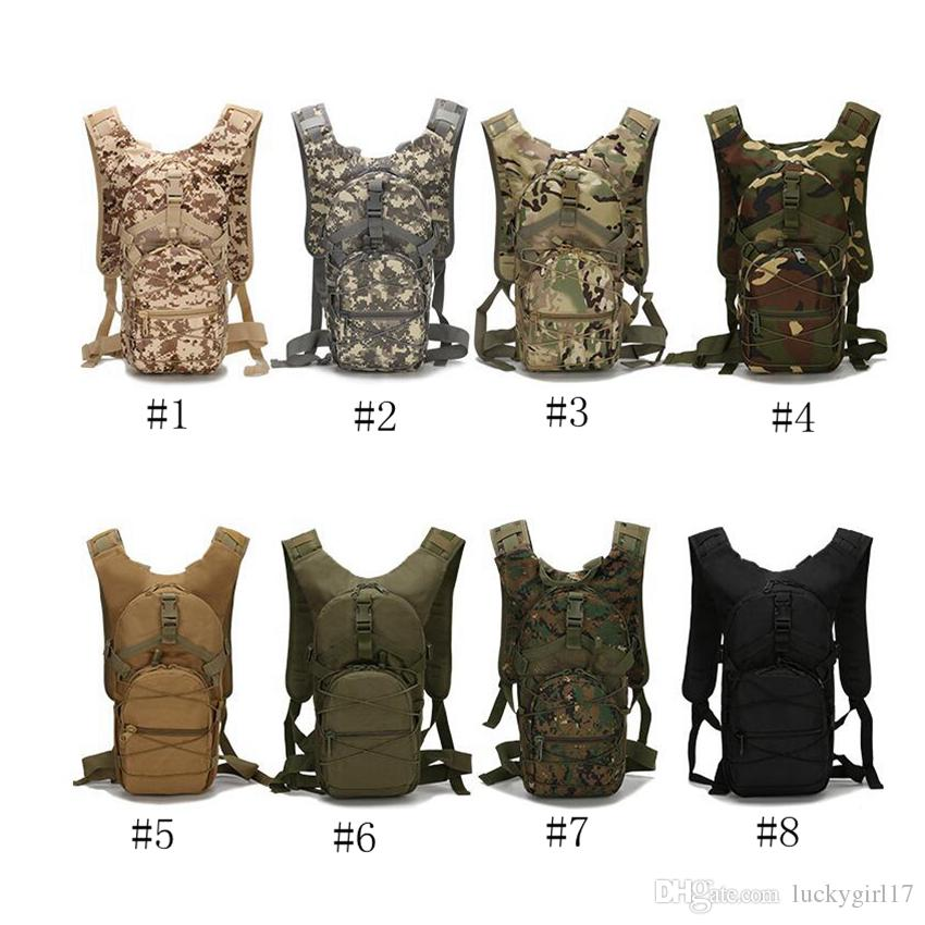 Camouflage Riding Backpack Large Capacity Casual Shoulders Bag Tactics Knapsack Running Sports Outdoor Tourism Hiking Bag 9 colors