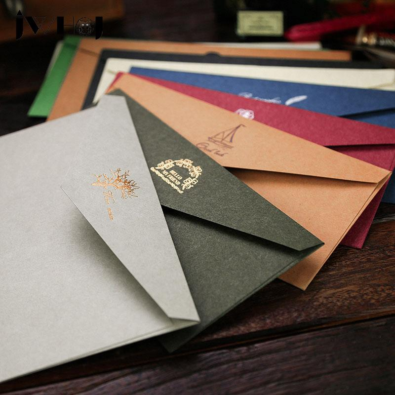 5pcs European Beautiful Hot stamping printing w16 Creative Cute for Business Lomo Card Letter Kraft Paper Envelope