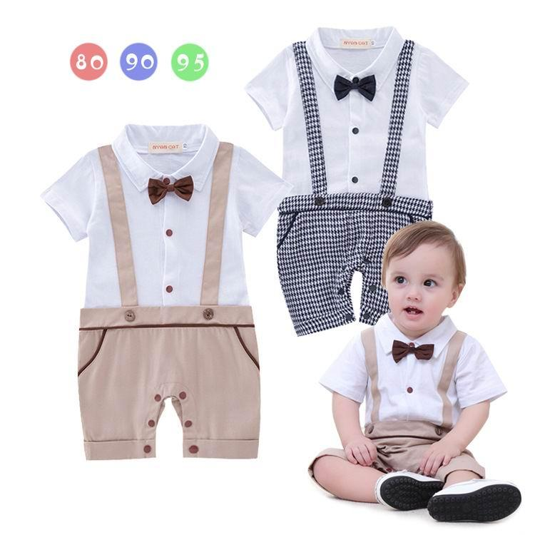 4d002a515f4e 2019 Summer Baby Boys Onesies Rompers Gentleman Plaid Cotton One Piece  Short Sleeve Jumpsuit Overalls For Kids Boy Infant Clothes 13265 From  Mindai