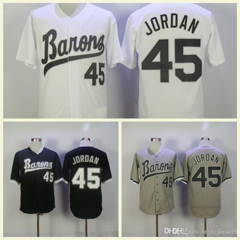 new arrival b4028 00d91 Mens Movie Jerseys Stitched Baseball Jerseys Michael #45 Birmingham Barons  Button Down Baseball Jersey White Black Gray
