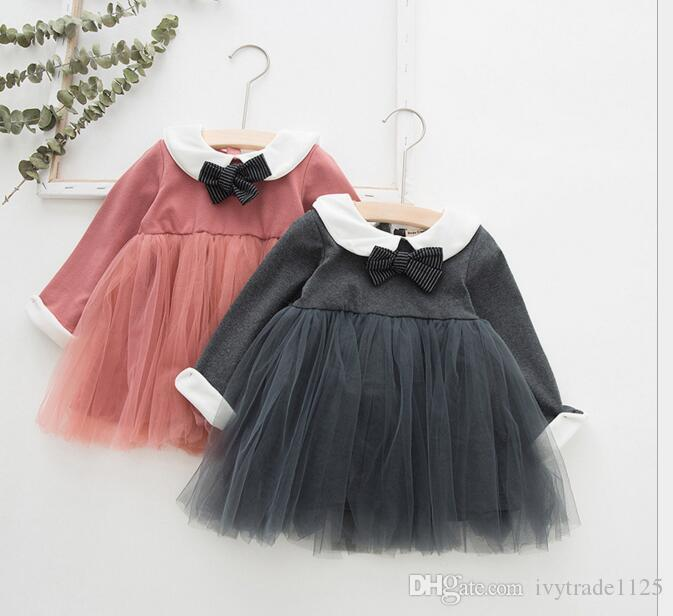 INS Baby girl Clothing Dress Spring Fall Mesh Patchwork Pet Pan Collar Girl Elegant Princess dress