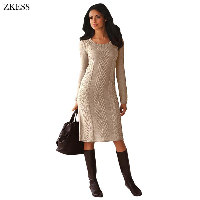 b9e701e376 Compre Zkess Mujeres Punto De Textura Suéter Vestido De Moda Causal ...