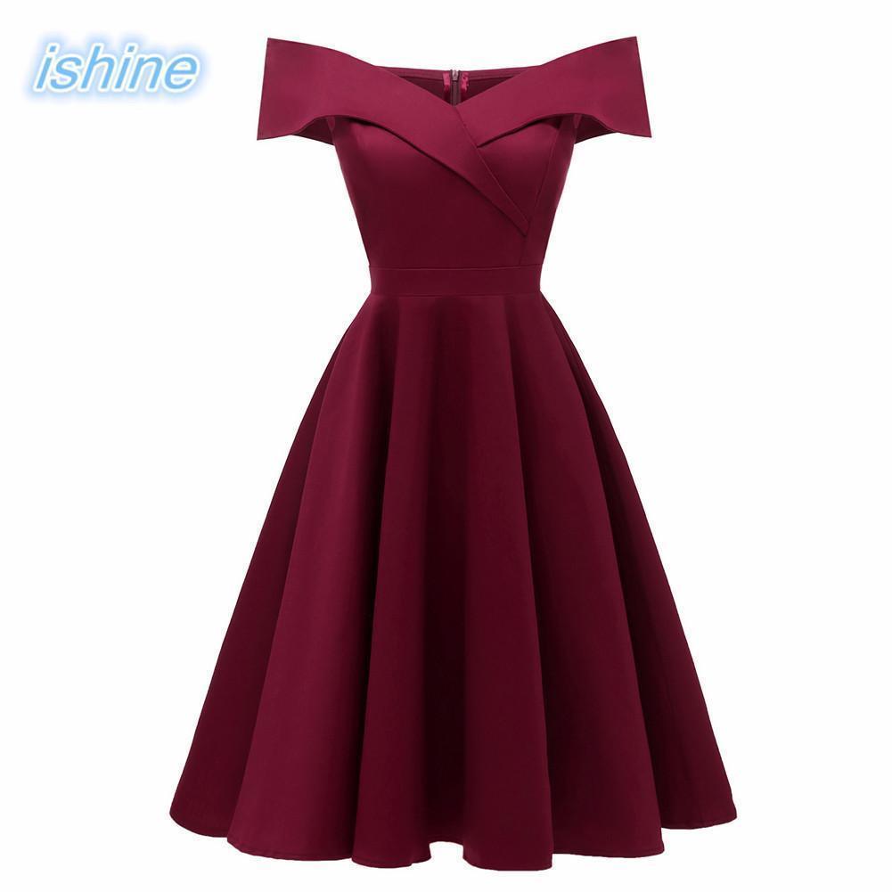 a60b0fee48807 Women 50s 60s Style Vintage Rockabilly Swing Dress Wine Red Ladies  Off-the-shoulder Slim Retro Party Dress Y190425