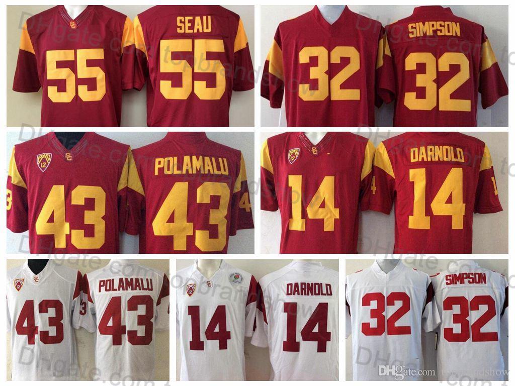 hot sale online cbb25 6d070 2018 USC Trojans College Football Jerseys 14 Sam Darnold Jersey 32 O.J  Simpson 55 Junior Seau 43 Troy Polamalu University Football Shirts