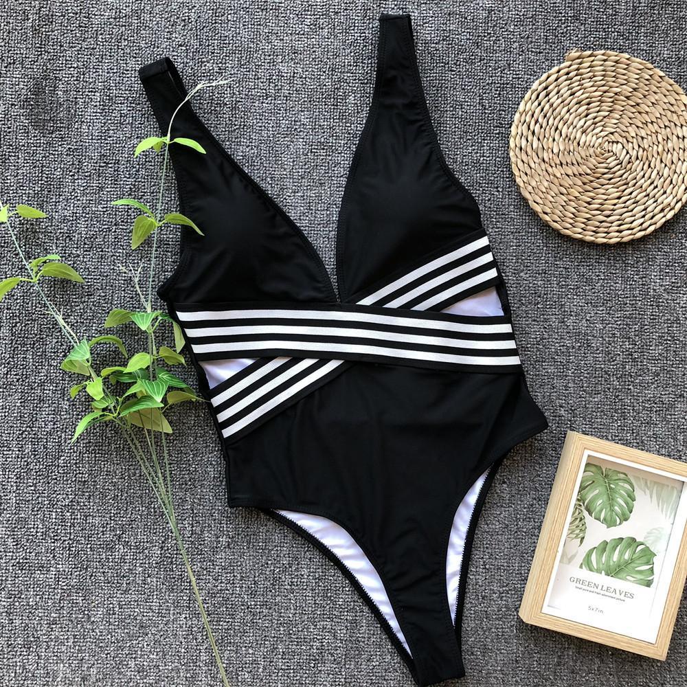 Online Shop Thong One Piece Swimwear Bodysuit Cross Bandage High Cut 4aee52e9a