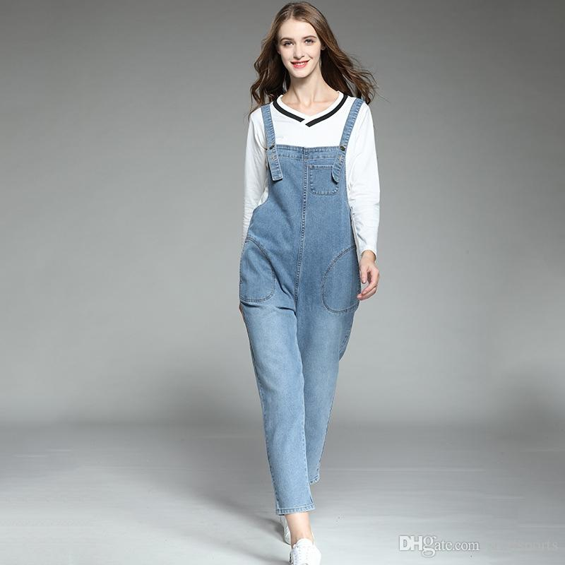 ab36a9fcbe #2059 Spring Summer Spaghetti Strap Denim Overalls For Women Big Size  Fashion Jeans Jumpsuit Femme Rompers Plus Size XL-5XL Tide #400730
