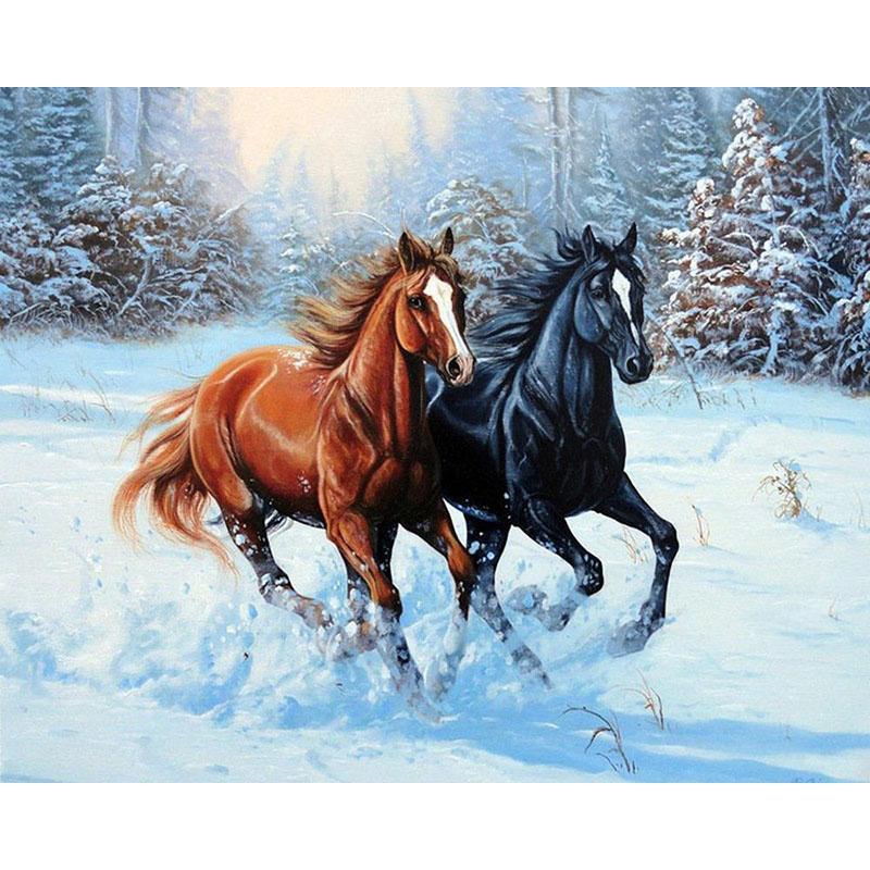 Compre Nuevo Dibujo Animado De Nieve Caballos Corriendo Taladro