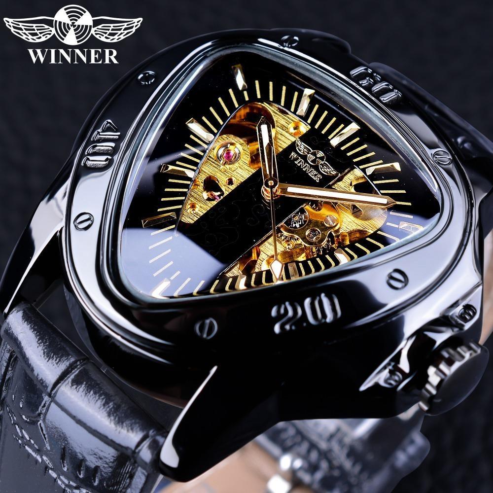 c7372d36e5f Compre Vencedor 2018 Triângulo Dourado Esqueleto Transparente Design De  Corrida De Moto Mens Relógio De Pulso Automático Top Marca De Luxo Relógio  Masculino ...