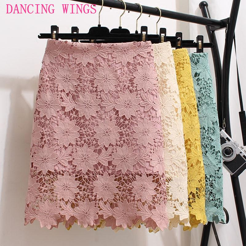 huge discount d2e44 6a277 Korean Fashion Sweet Crochet Aushöhlen Stickerei Spitzenrock Sommer Rosa  Hohe Taille Rock Bodycon Kurze Miniröcke Frauen