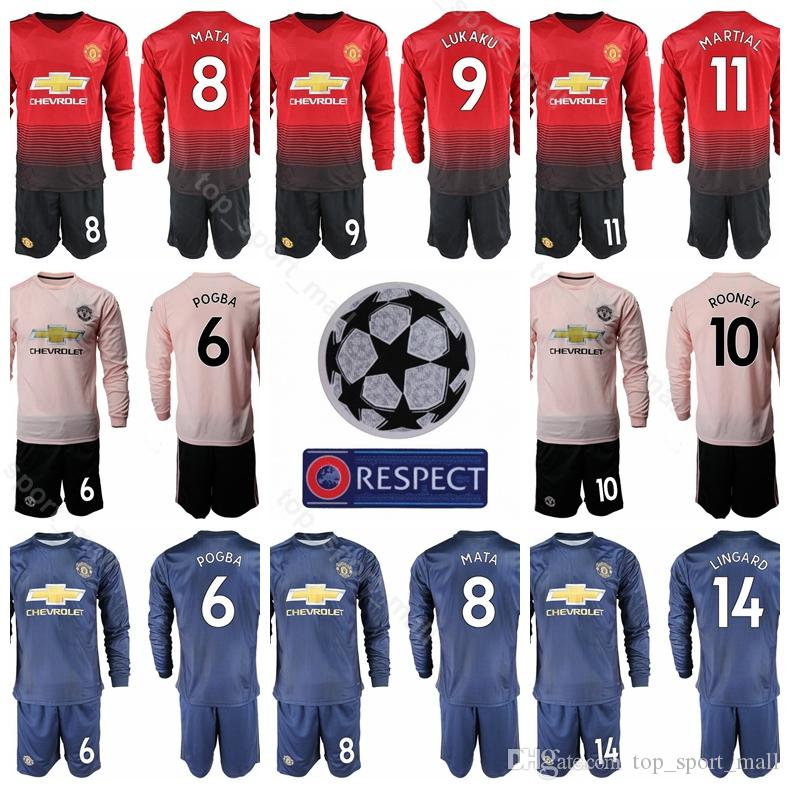 7b5c154e 2019 Soccer Man United Long Sleeve Jersey Set 10 RASHFORD 6 POGBA 9 LUKAKU  11 MARTIAL 14 LINGARD Football Shirt Kits Champions League Uniform From ...