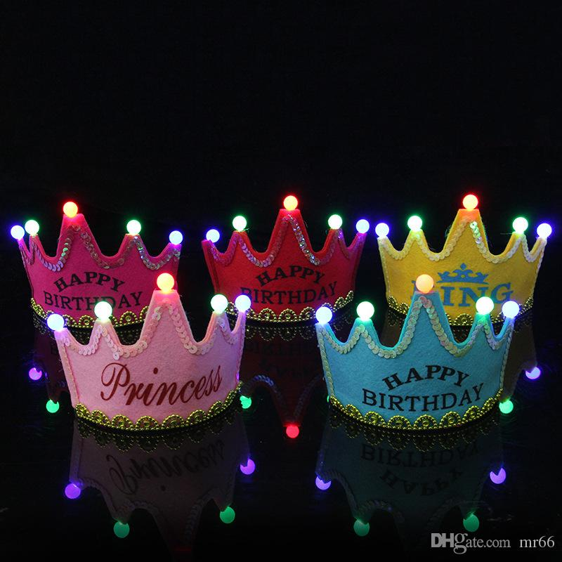 2019 Happy Birthday Party Hat LED Crown Headbands Decoration Hair Pink Princess Blue King Glow Hats Tiara For Adults Kids Bridal Gowns
