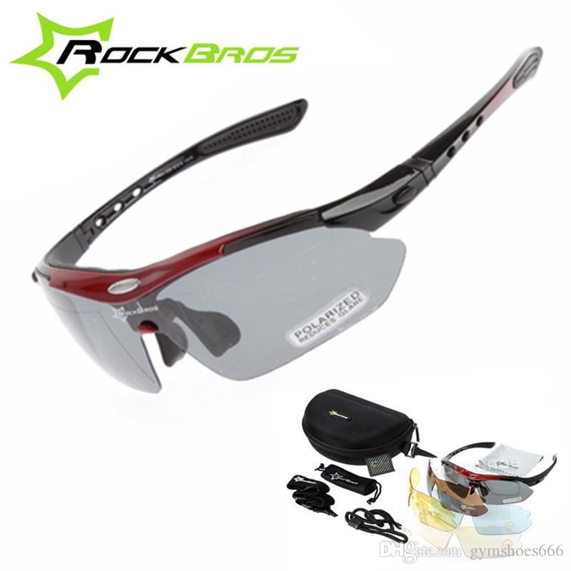 1a915b7b42 New RockBros Polarized 5 Lenses Cycling Sun Glasses Outdoor Sports Bicycle  MTB Road Bike Sun Glasses TR90 Goggles Eyewear  191989 Golden Outdoor  Eyewear No ...