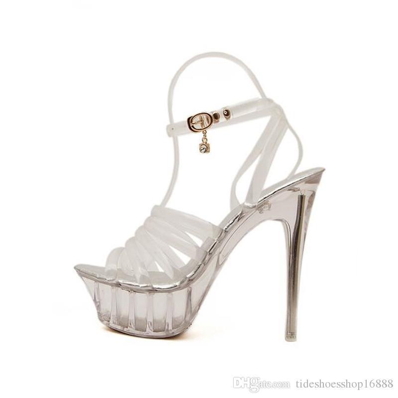 a71d83924 Compre Sapatos Mulher Nova 2019 Verão De Salto Alto 14 Cm De Salto Alto Fino  Mulheres Bombas Sapatos De Cristal Transparente Sandalia Feminina De ...