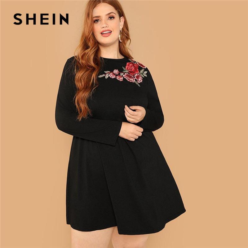 8853f985c0 SHEIN Floral Embroidery Detail Long Sleeve Plus Size Black A Line Mini Dress  Women Autumn Winter Office Lady Trapeze Hem Dresses Party Dresses Lace Lime  ...