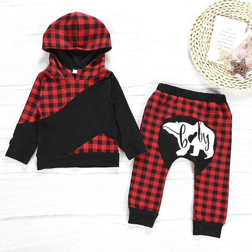 Toddler Kids Baby Girls Clothes Set Plaid Hooded Sweartshirt Pants Christmas Outfits Children Xmas Set Autumn Clothing