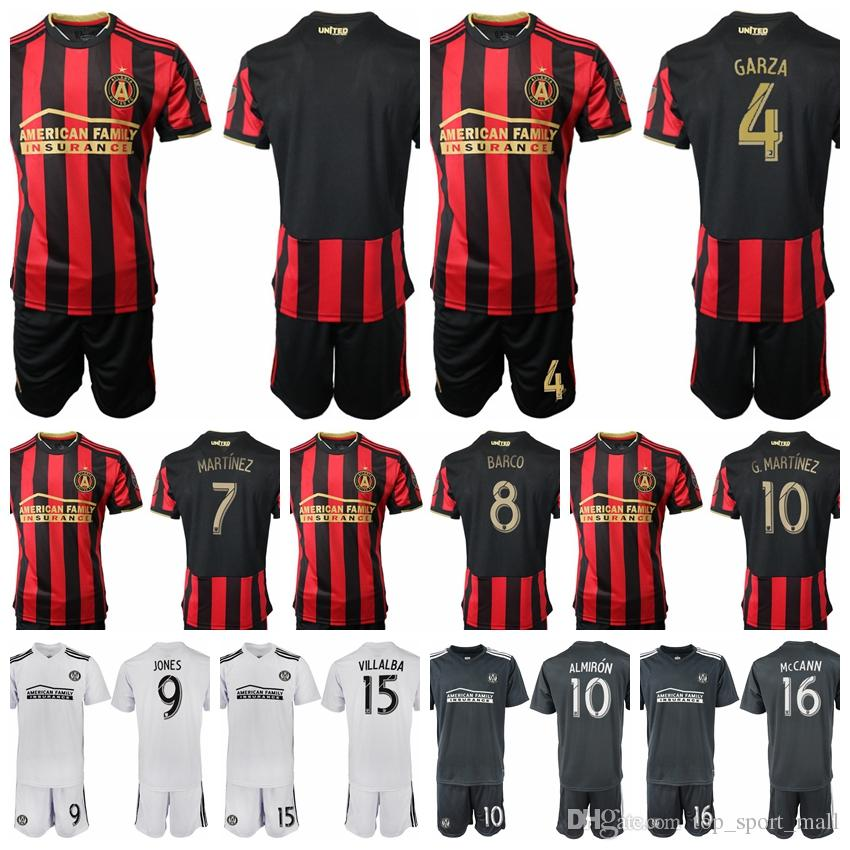 the latest e0cee 7a3c3 2018 2019 Atlanta United MLS Soccer 8 Ezequiel Barco Jersey Set 15 Hector  Villalba 24 Julian Gressel Red Black Football Shirt Kits Uniform