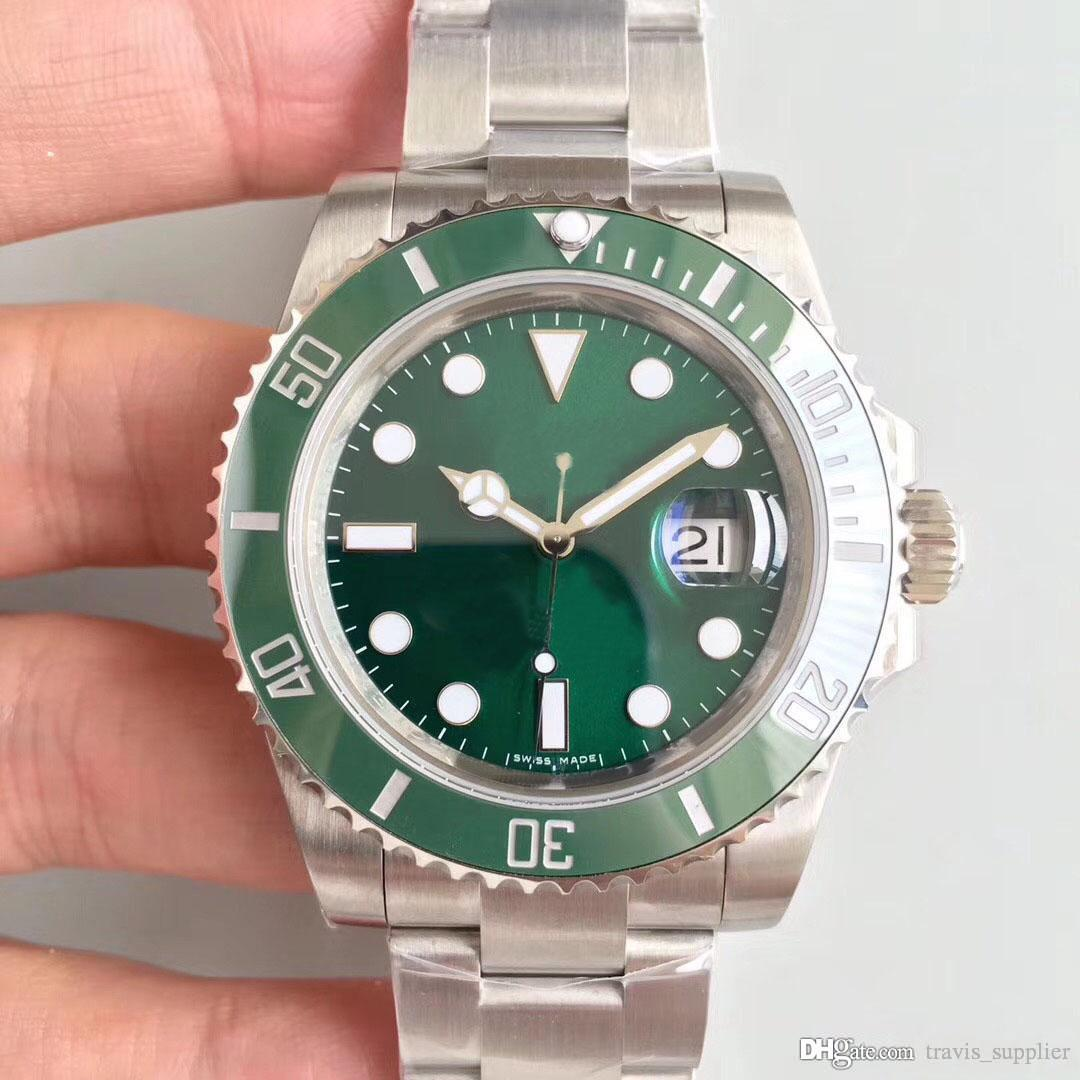 2019 hot sale men's Watch 40MM Green Dial 116610LV Series Automatic Movement Sapphire Mirror Ceramic Ring 316L Stainless Steel Strap