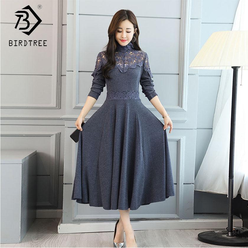 e7c826470274 Turtleneck Hollow Out Patchwork Lace Dress Unique Lace Dress