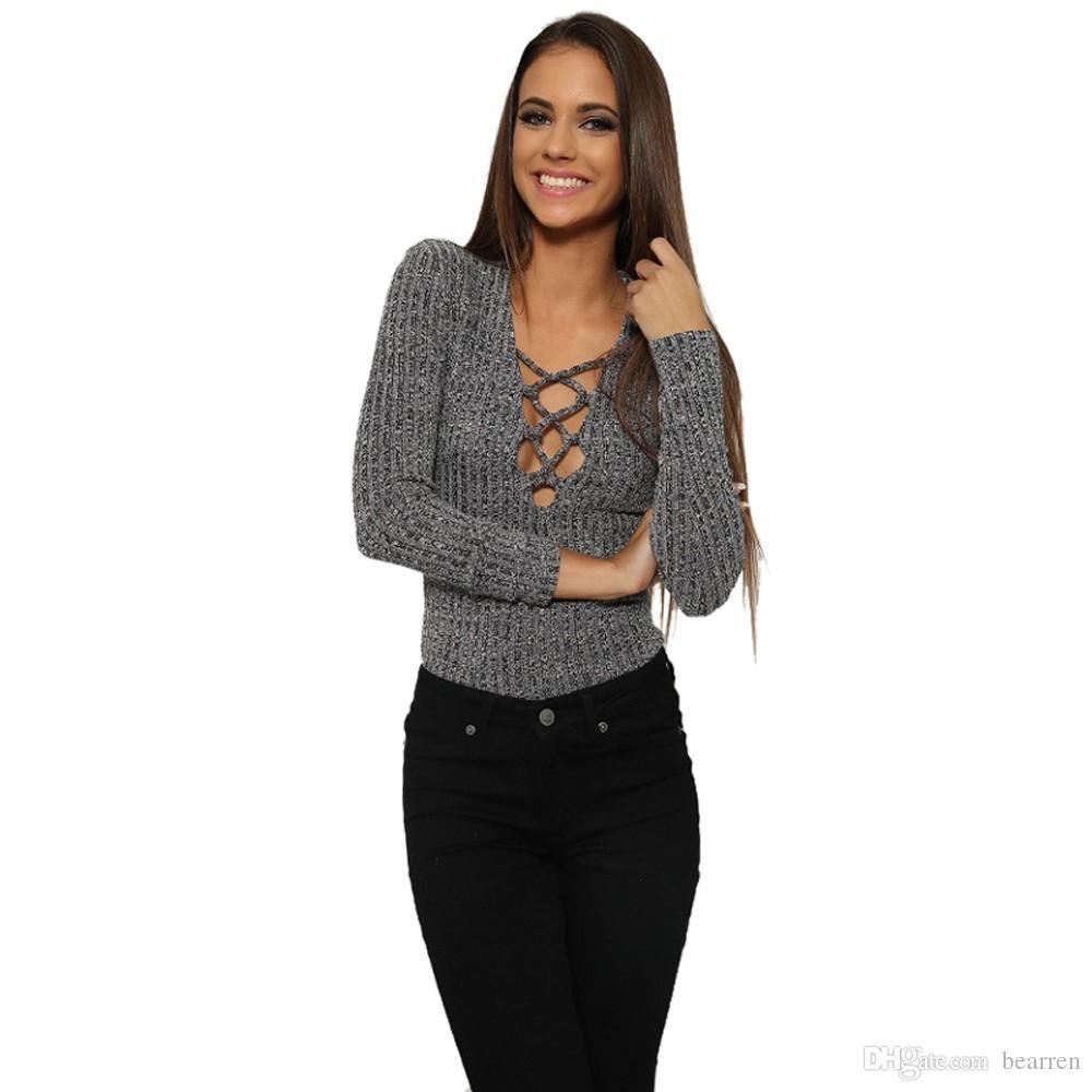 3ff4d865946de Acheter Sexy V Profond Lacé Côtelé Femmes Body Tshirt Tops Manches Longues  Deep V Bretelles Croisées À Manches Longues Slim T Shirt En Laine Trendy16  De ...
