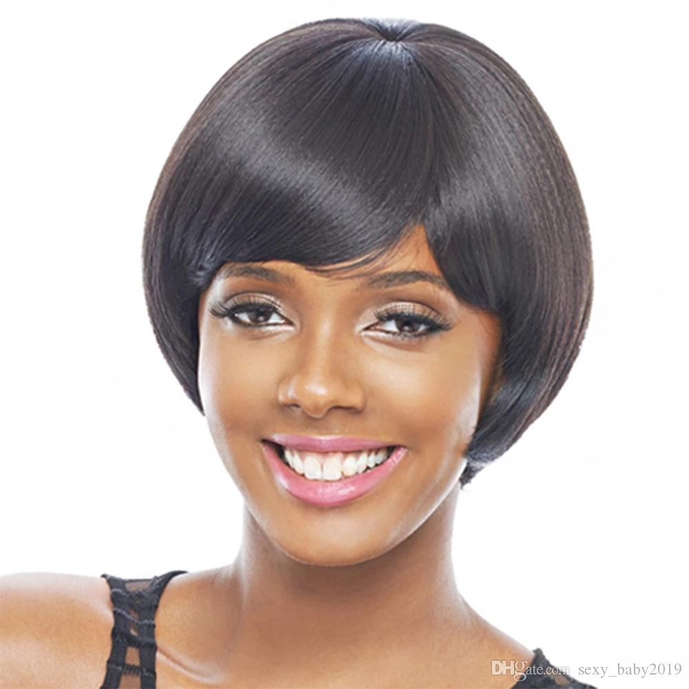 Hot selling women hair wig for Afro black color short Bob wigs 10 inch 100% synthetic hair with weaving cap free shipping