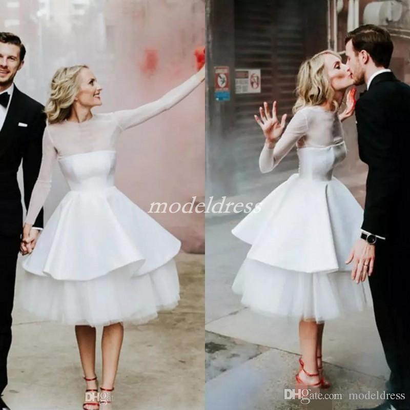 compre manga larga cortos vestidos de novia blancos 2019 joya