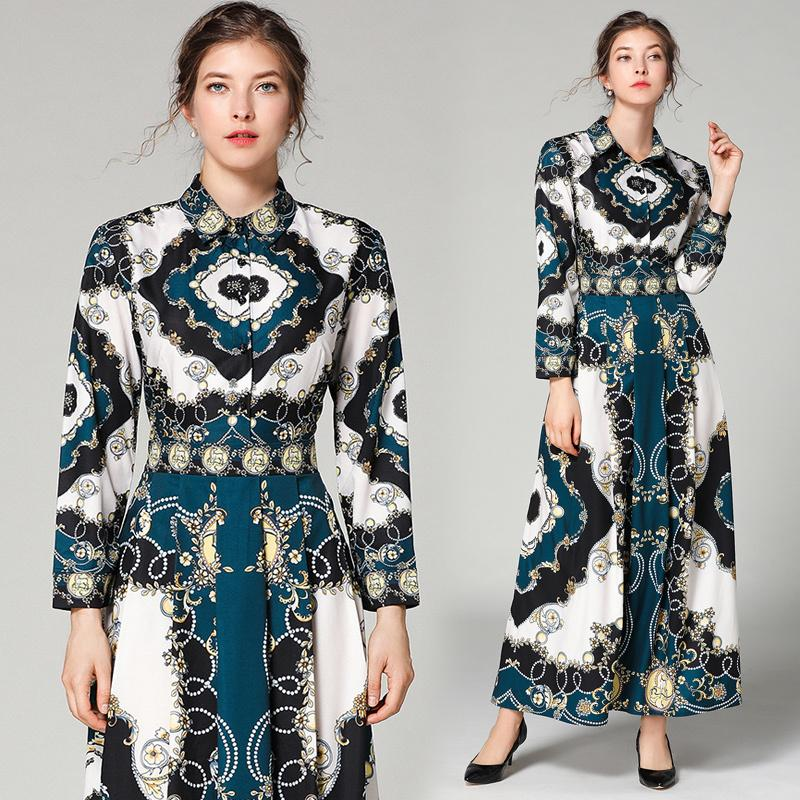 c44f519b380f7 New Arrival 2019 Spring Summer Fall Runway Vintage Print Collar Empire  Waist Long Sleeve Women Party Casual A-Line Maxi Dresses Wholesale