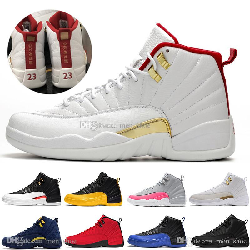 12s FIBA OVO White Reverse Taxi Men Basketball Shoes College Navy Game Royal Bordeaux Dark Grey WNTR Michigan Wings sports sneakers designer