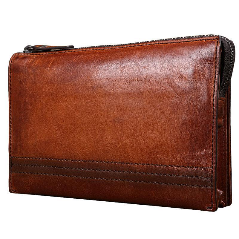 4a9179e7fff9 Genuine Leather Designer Vintage Mens Wallet Large Capacity Day Clutches  Multifunction Zipper Purse Wallet Card Holder Wristlets