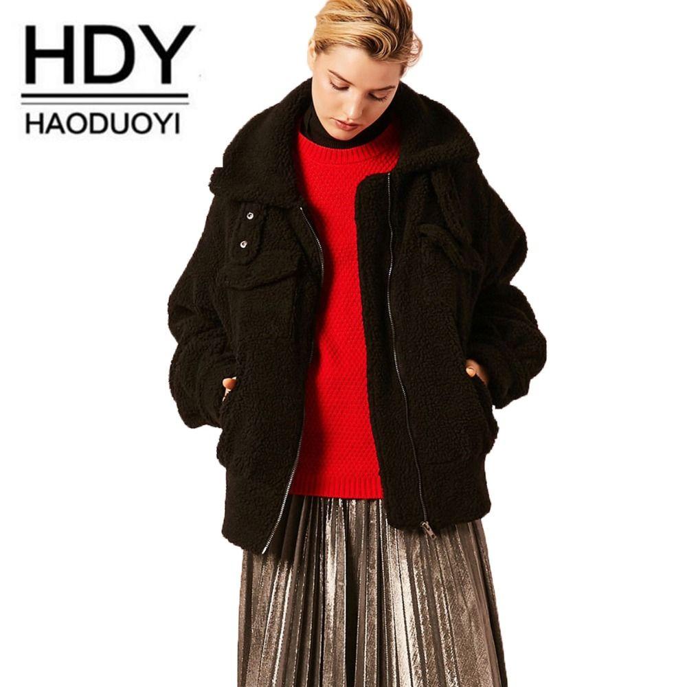 Jacke Reißverschluss Mode Warme Pelzmantel Imitation Damen Schwarz New Revers Lambswool European American Lammfell Haoduoyi 2018 jLq54A3R
