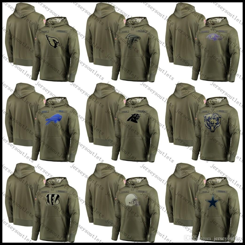 2019 Men Oakland Philadelphia Pittsburgh Eagles Steelers Raiders Chargers  Olive Salute To Service Sideline Therma Performance Pullover Hoodie 01 From  ... 2d7a49db2