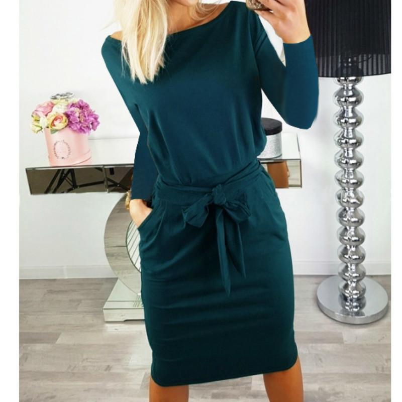 b25df581 2019 2018 Autumn Batwing Sleeve Knitting Bodycon Dress Women Fashion Pocket  Sashes Pencil Dress Long Sleeve O Neck Casual Dress C19012101 From  Shen8408, ...