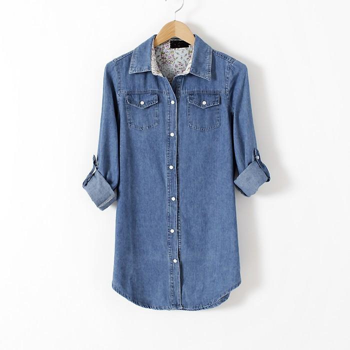 nouveau sommet super populaire grande qualité Printemps nouvelles femmes mode longue chemise en jean chemise en baisse,  plus la taille XS-XXXL