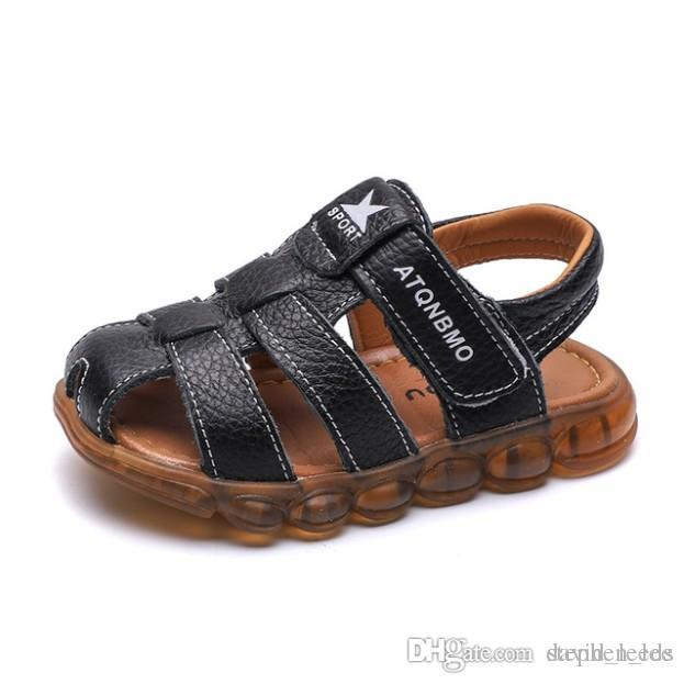 2019 New Boys Summer Casual Sandals Children Leather Sandals Slippers Kids Beach Sandal Size 21-36