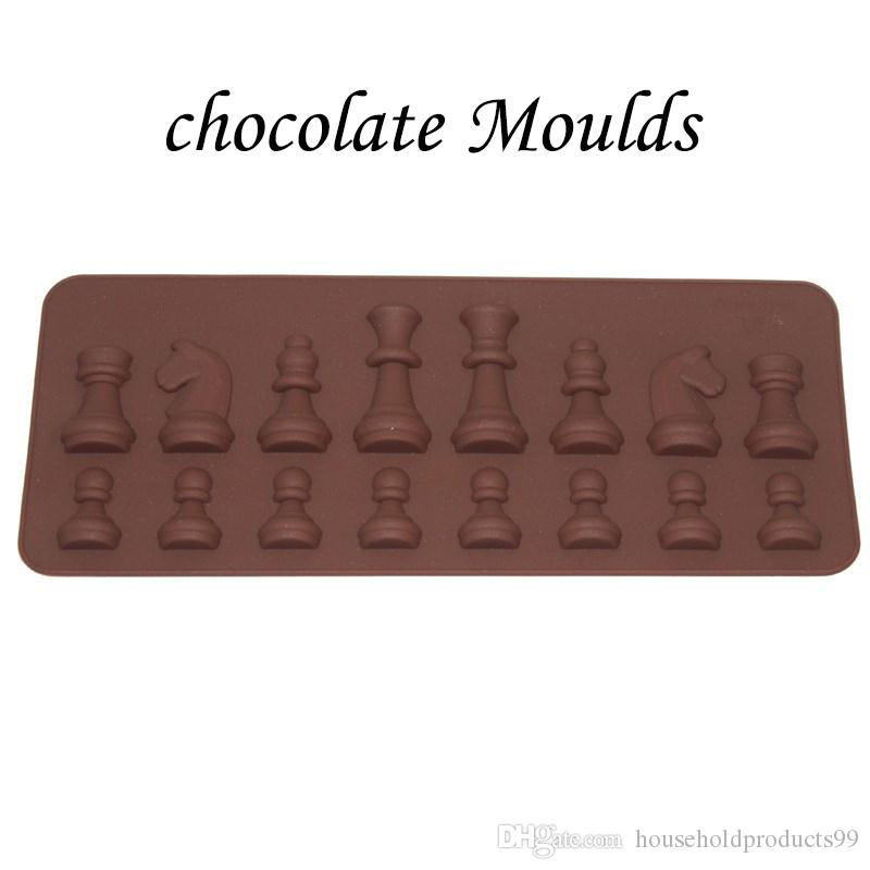 5pc/lot International Chess Shape Chocolate Moulds More Patterns Oven  Silicone Baking Moulds Chocolate Cake Molds Bakeware 21 8*8 8cm