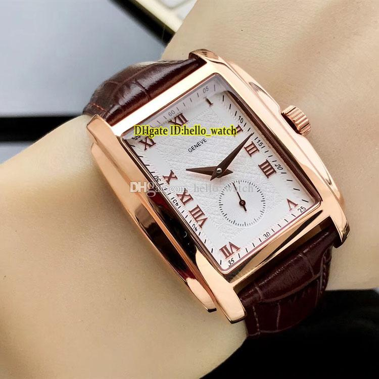 Nouveau pas cher Gondolo Rose Case 5124J-001 5124 Timbre Blanc Cadran Automatique Montre Homme Marron Cuir Rectangle Tonneau Montres Hello_watch