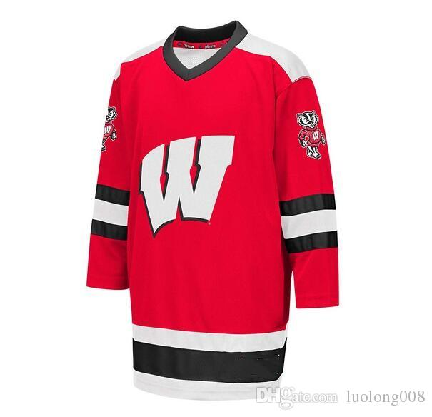 2019 Wisconsin Badgers University Hockey Jersey Embroidery Stitched  Customize Any Number And Name Jerseys From Luolong008 a144c9a9350