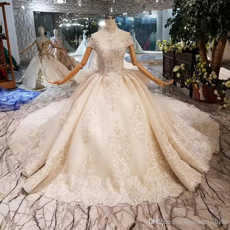 Luxury Big Ruffle Style Wedding Dresses With Wedding Veil High Neck Cap Sleeve Beaded Applique Wedding Gowns 2019 New Fashion Design Croatia