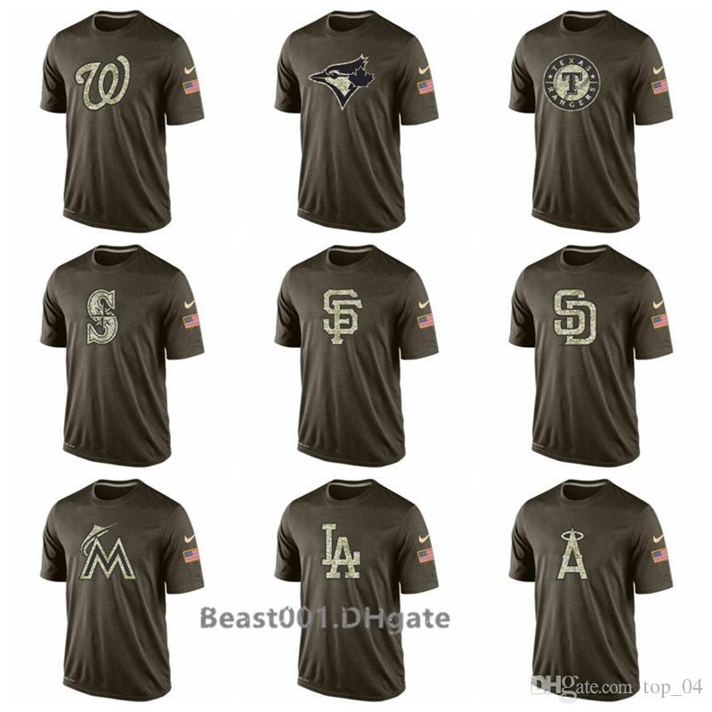 brand new f268f 453b8 Men Angels Braves Mariners Giants Padres Marlins Dodgers Rangers Nationals  Jays Salute To Service T-Shirt