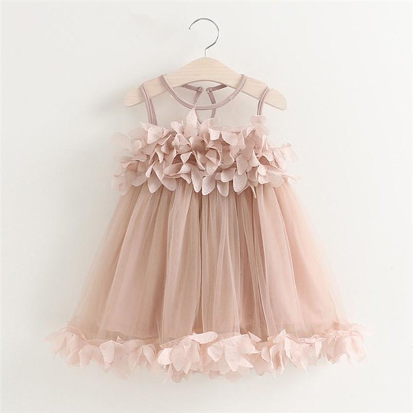 c91c10549b3 2019 Summer Girls Dress Cute Kids Baby Girl Solid Sleeveless Flowers Petal  Princess Dress Party Wedding Dresses M8Y06 From Yosicil01