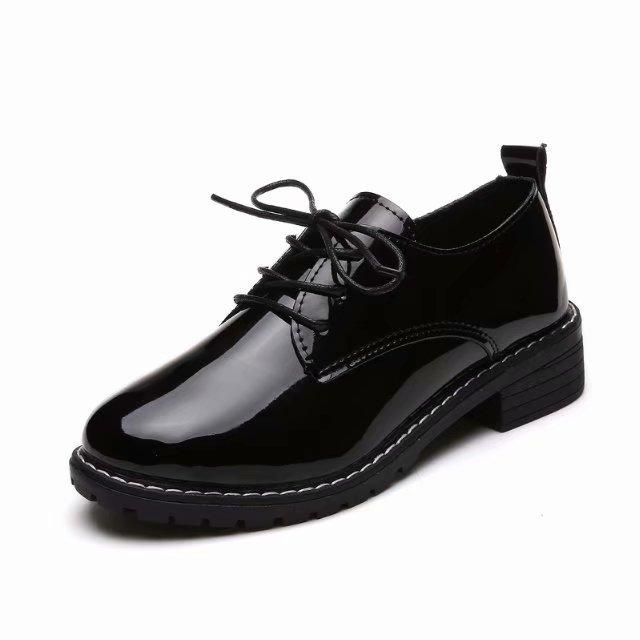 Designer Dress Shoes women spring autumn new low heels platform black pumps ladies fashion patent leather lace up casual female footwear