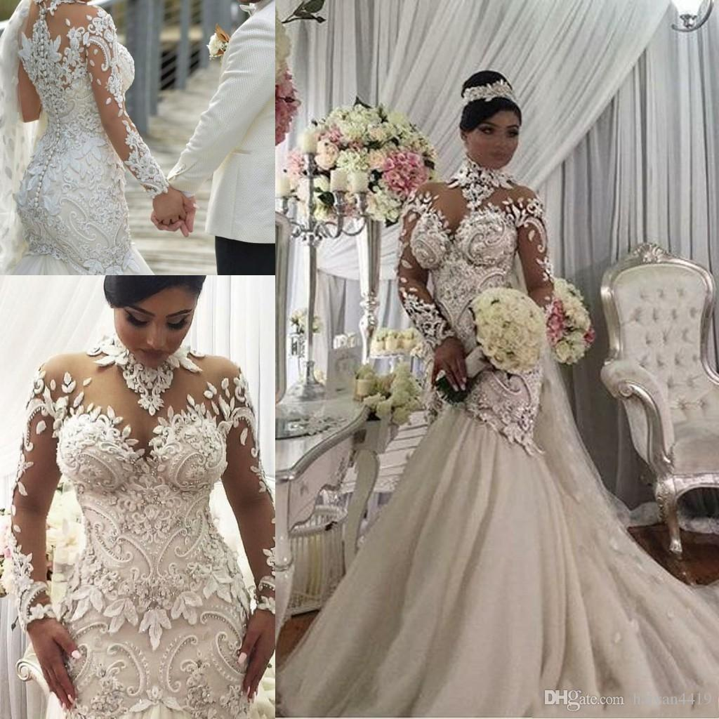 a293f367fb 2019 New Luxury Mermaid Wedding Dresses Illusion High Neck Lace 3D-Floral  Appliques Beads Crystal Long Sleeves Sexy African Bridal Gown
